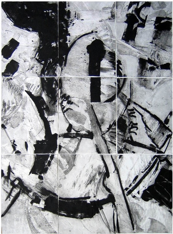 Anastasis ,310x234cm,monoprint on paper,2008