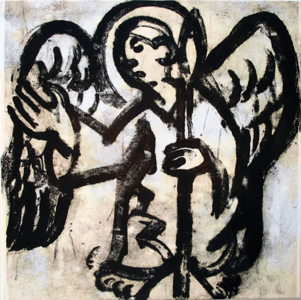 Angel with a pike ,100x100 cm