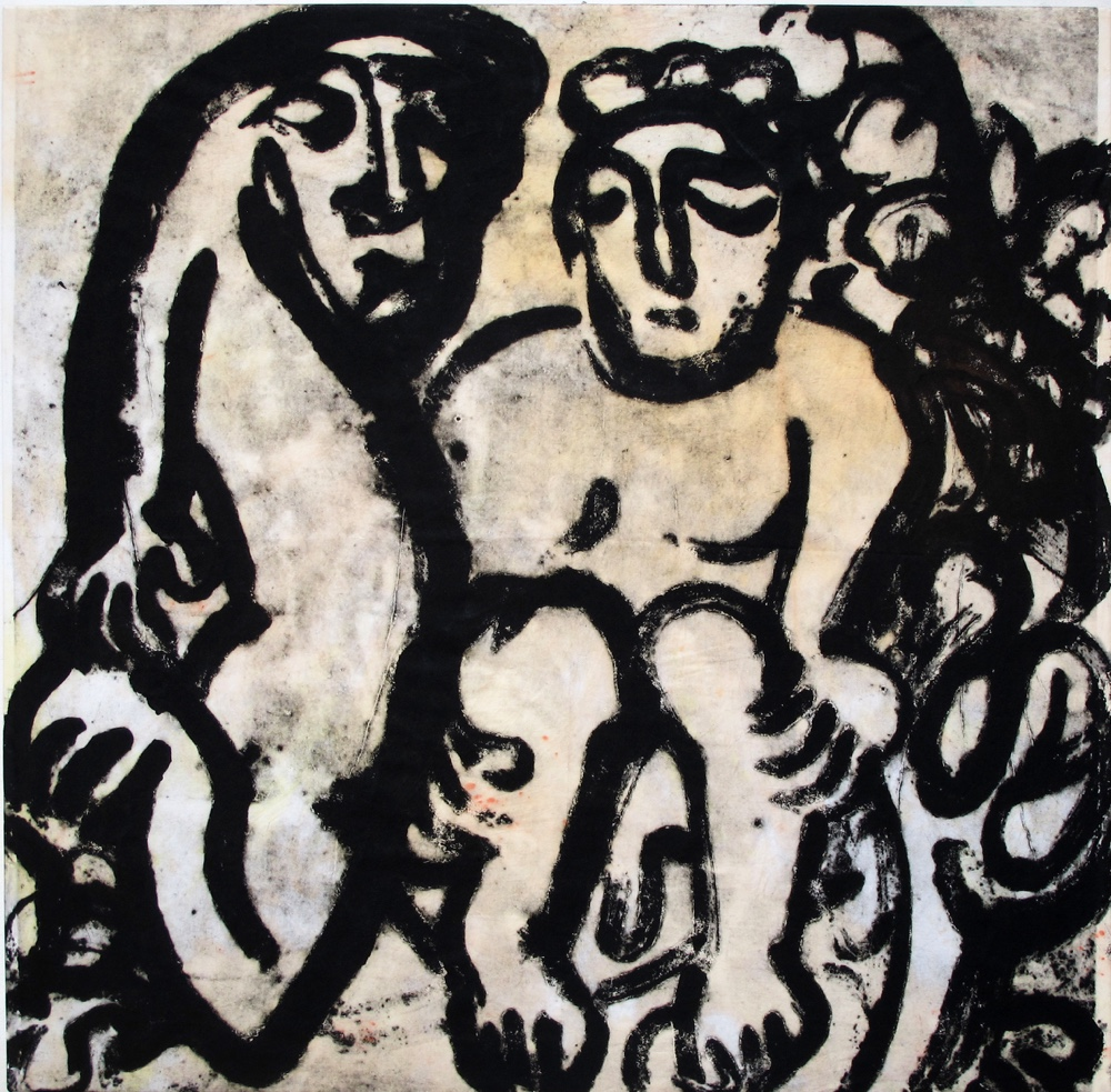 Man and beast ,100x100cm