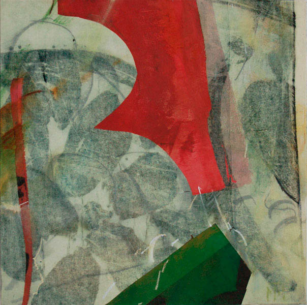 collage with green and red 60x60cm mixed medium on canvas