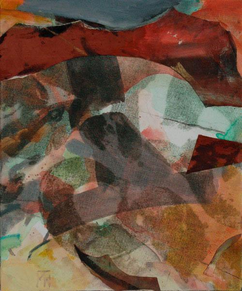 small landscape with orange 60x50cm mixed medium on canvas