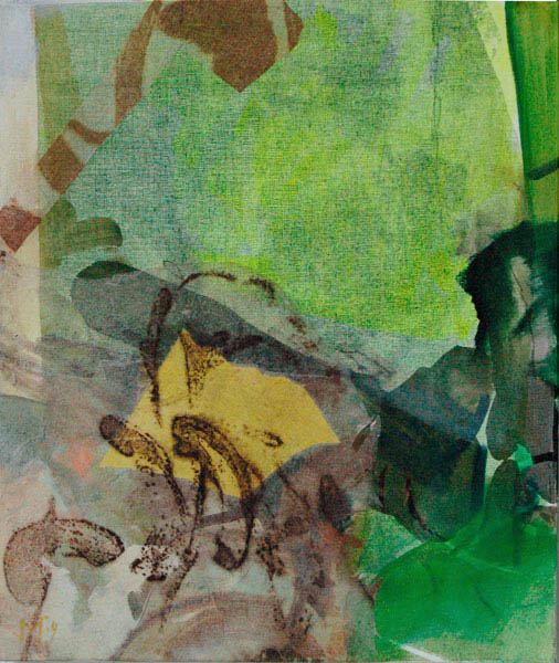 collage with green 70x60cm mixed medium on canvas