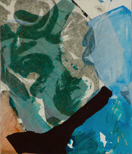 collage with blue and brown 70x60cm mixed medium on canvas