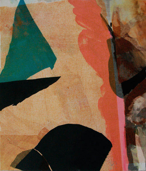 collage with orange dark green 70x60 cm mixed medium on canvas
