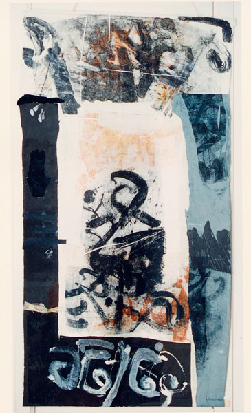 scroll1 220x110 cm collage -print on textile