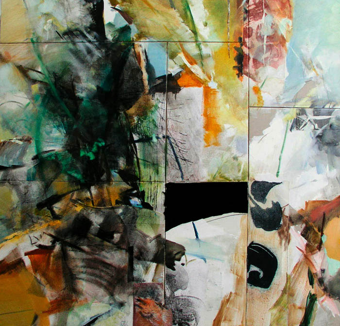 the window 7 parts total size 205x210cm mixed medium on canvas