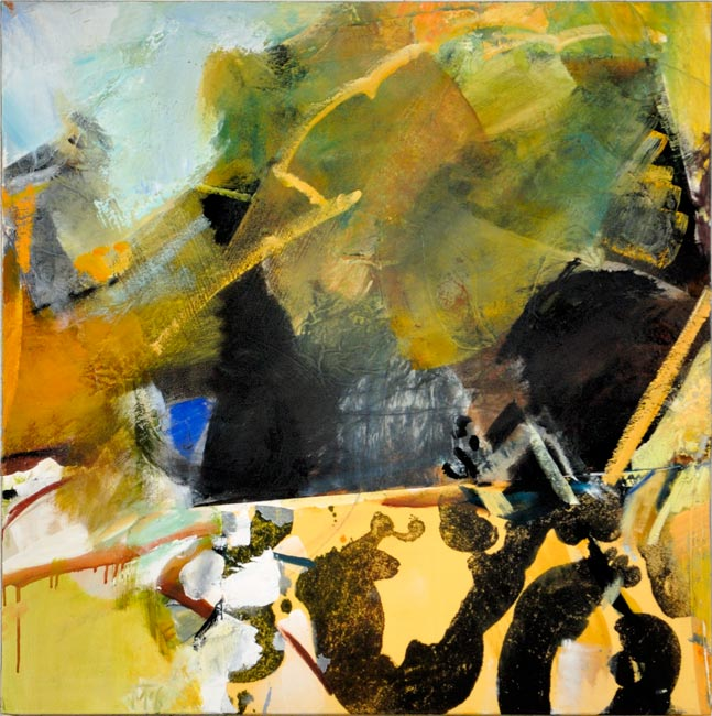 yellow mountain collage oil on canvas 90x90cm